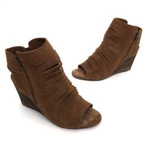 Diba Suede Peep Toe Wedge High Heels Brown Strappy